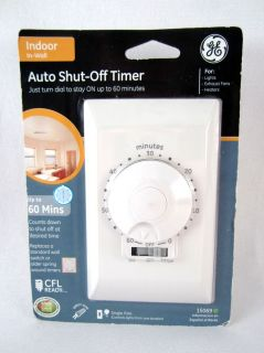 GE General Electric Indoor Auto Shut Off 60 Minute Timer Model 15069