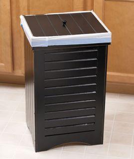Black Wooden Kitchen Trash Bin   Works With 30 Gallon Trash Bags