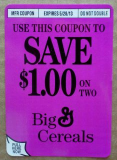 00 on Two General Mills Cereals 05 28 13 Big G Cereal