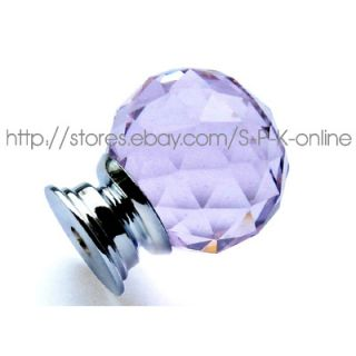 Purple Round Cabinet Drawer Crystal Glass Knobs 30mm