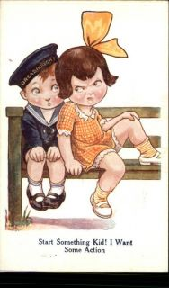 Comic Little Boy Sailor w Angry Little Girl c1910 PC