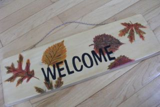 Fall Leaves Welcome Sign Plaque Solid Pine Wood 18""