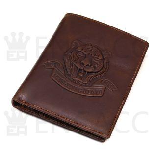 New Mens Brown Genuine Leather Billfold Wallet Zippered Pocket Purse