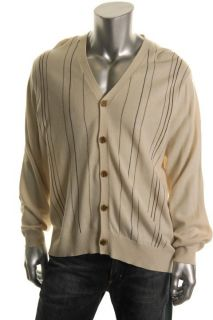 Geoffrey Beene New Ivory Striped Front Long Sleeves Button Cardigan