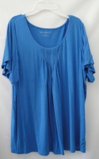 NWOT Susan Graver French Blue Stretch Knit Flutter Sleeve Top Large