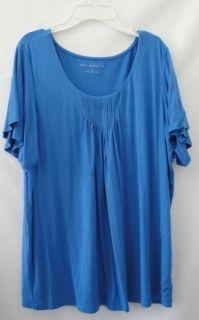 NWOT Susan Graver French Blue Stretch Knit Flutter Sleeve Top Large