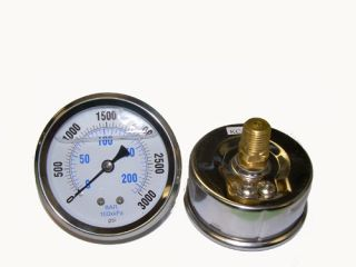 Liquid Filled 2 5 3000 PSI Air Pressure Gauge Back