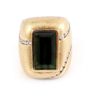 14k Yellow Gold Diamond Green Tourmaline Ring by Gauthier