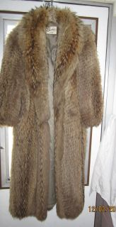 GARBER Furs Long FULL LENGTH LIGHT BROWN FOX FUR Coat SZ 10  BEAUTY