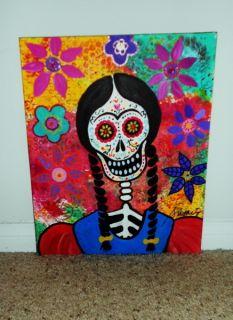 Mexican Day of The Dead Frida Kahlo Flowers Prisarts Original Folk Art