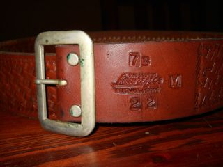 Vintage George Lawrence Brown Leather Belt 22 Cal Medium