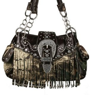 New Western Black Camo Rhinestone Fringe Purse Handbag