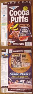 Star Wars 1977 Cocoa Puffs Cereal Box Stickers offer vintage