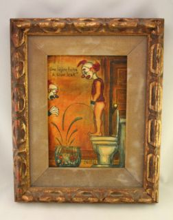 Signed George Crionas Original Oil Painting A SLOW LEAK Clown Pees in