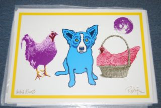 FTI George Rodrigue Blue Dog Chicken in A Basket White RARE Print