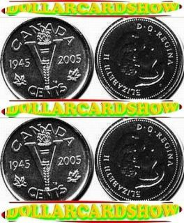 2X Canada 2005 Canadian George V 1945 Nickel No Beaver 5 Cents Coins