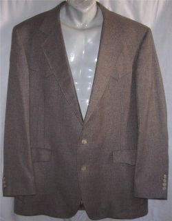 44L George West WESTERN BLUE BROWN GREEN TWEED sport coat jacket suit
