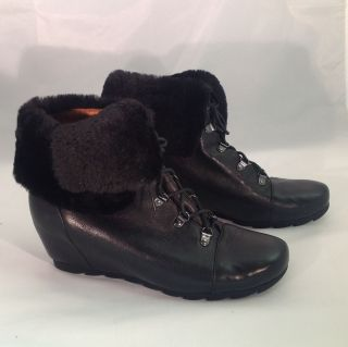 Gentle Souls Womens Barnsicle Boot Black Leather Size 11 M Fur Cuff