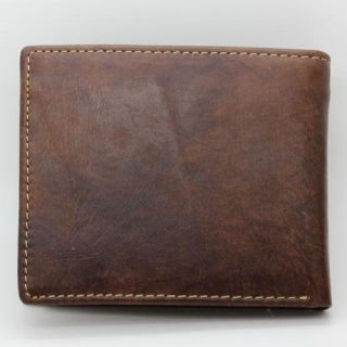 Mens Light Coffee Genuine Real Leather Zipper Pocket Bifold Wallet