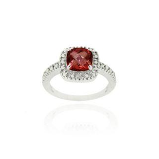 925 silver 2ct garnet diamond accent square ring