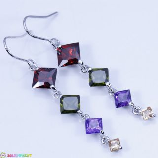 Trendy Red Garnet Gemstone Silver Jewelry Earring E863