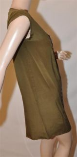 Geren Ford Satin Rivet Panel Shift Olive Dress Size XS