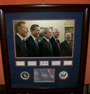 Barack Obama Clinton Carter George w Bush 5 Presidents Signed