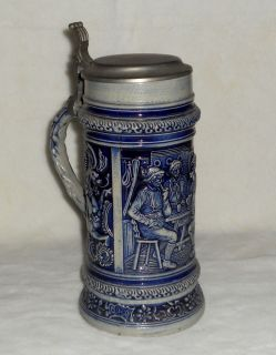 German Beer Stein Vintage Cobalt Blue Old Gerz Ceramic Mural