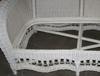 Ethan Allen 4 Piece White Wicker Patio Furniture Set New