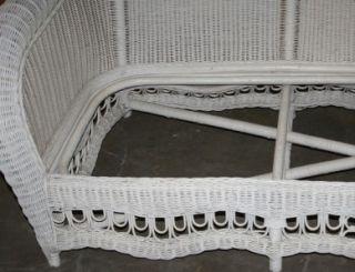 Ethan Allen 4 Piece White Wicker Patio Furniture Set New