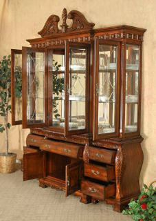 Mahogany Chippendale Lighted China Cabinet Hutch Buffet High Quality