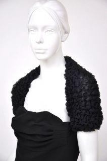 New Giambattista Valli Classy Black Wool Corset Shrug Dress 44 M 8 10
