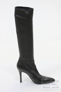 Gianni Versace Black Leather Point Toe Knee High Stiletto Boots Size