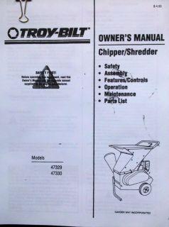 Troy Bilt Manual Models 47329 47330