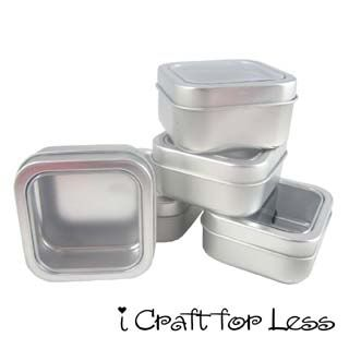 Square Clear View Top Metal Gift Storage Spice Favor Tins 2 Oz