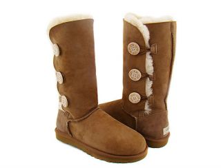 UGG Womens Bailey Button Triplet Boots 1873 Chestnut