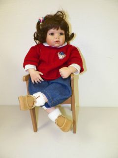 Gaby Jacques Porcelain Doll and Chair HSN Masterpiece 20 Tall XLNT