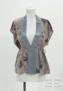 Geren Ford Purple Blue Silk Top Size L