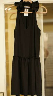 Geren Ford Silk Black Ruffle Neck Dress Small