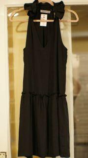Geren Ford Silk Black Ruffle Neck Dress Small