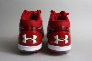 New Under Armour Baseball Cleats Red Mid Heat Gear 13