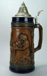 Vintage Lidded German Beer Stein ORIGINAL GERZIT/ GERZ W. GERMANY