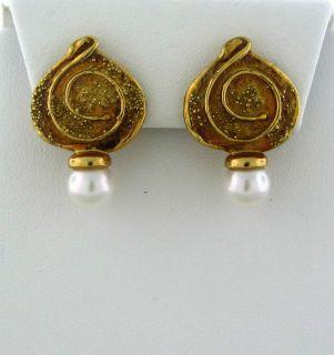 ELIZABETH GAGE 18K YELLOW GOLD PEARL EARRINGS