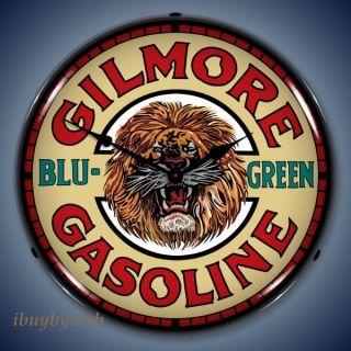 Nostalgic Gilmore Gasoline Gas Lighted Wall Clock Sign
