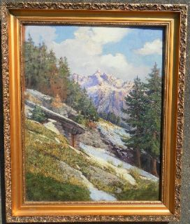 BOTTNER (1927) AUSTRIA ORIGINAL VINTAGE OIL PAINTING ALPS MOUNTAIN