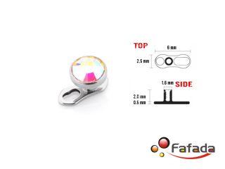 4mm Tiny Micro Dermal Anchor Gem Top Head Plate Base Foot Titanium