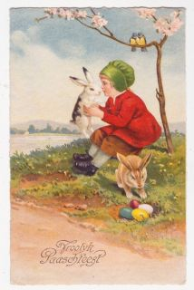 EASTER BUNNY Getting Kissed by Girl vintage 1930s fantasy postcard