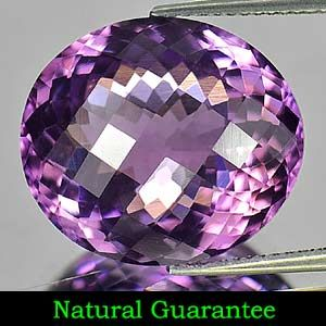 79 Ct Natural Purple Amethyst Gem Oval Checkerboard from Brazil