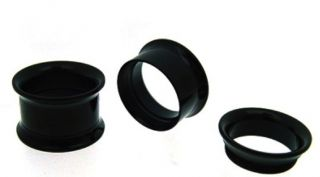 PAIR OF 00G double flare INTERNALLY THREADED TUNNELS PLUGS BLACK PLUG