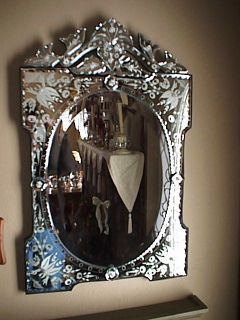 Victorian Rosa Rose Venetian Glass Mirror Chic Cottage Shabby Oval